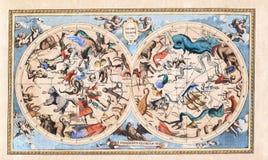 Полусфера античного винтажного созвездия небесная двойная Стоковое Изображение RF