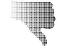 полутоновое изображение вниз thumb рука иллюстрация штока