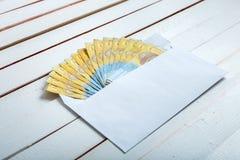 Получите внутри hryvnia наличными украинца конверта Стоковое фото RF