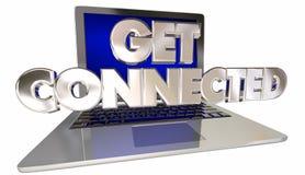 Получите соединенный вебсайт интернета связи компьтер-книжки компьютера иллюстрация вектора