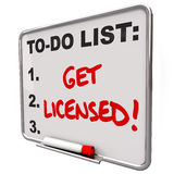 Получите, что лицензированные слова сделать одобрение правления списка Стоковое фото RF