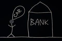 Получили, что финансовую помощь от банка купил человек новый автомобиль Стоковое Изображение