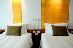 Подушки на двойных кроватях Стоковая Фотография RF
