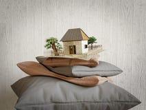 Подушки собрание и дом игрушки от бумажного состава концепции стоковая фотография