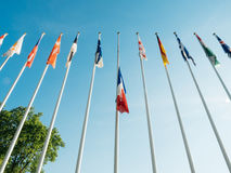Полу-рангоут флага Франции после того как нападения Великобритании в Манчестере, Лондоне Стоковое Изображение RF