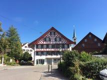Полу-timbered дом, большая область Цюриха, Швейцария Стоковое Изображение