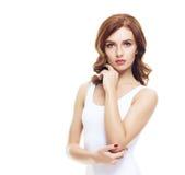 Подходящая и sporty девушка в белом нижнем белье Красивый и здоровый wo Стоковые Фотографии RF