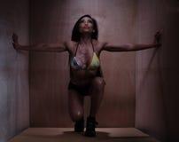 Подходящая молодая женщина в стенах нижнего белья касающих бортовых Стоковые Фото