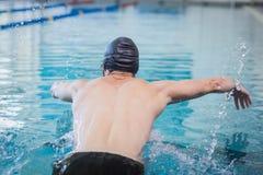 Подходящее заплывание человека Стоковое Изображение