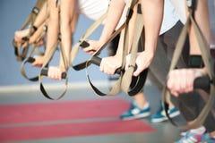 Подходящие женщины делают нажимают поднимают в спортзале Стоковое Изображение RF