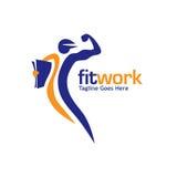 Подходящие спорт работы и вектор логотипа фитнеса иллюстрация штока