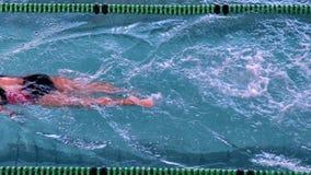 Подходящий женский пловец делая передний ход в бассейне сток-видео