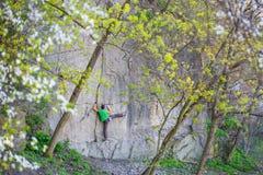 Подъемы альпиниста на утесе Стоковое Изображение