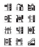 Подъемы и комплект значка лифтов Стоковая Фотография