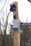 Подъемы человека над скользким деревом Стоковое Фото