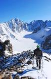 Подъем альпиниста к высокому горному пику стоковые изображения rf
