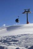 Подъем гондолы на лыжный курорт на ветреном дне солнца Стоковые Изображения