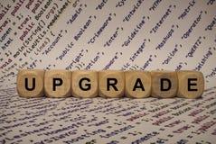 Подъем - куб с письмами и словами от компьютера, програмным обеспечением, категориями интернета, деревянными кубами Стоковые Изображения