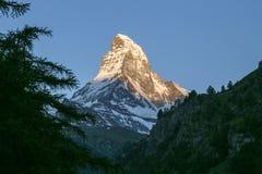 Подъем солнца Маттерхорна в Zermatt Стоковые Изображения