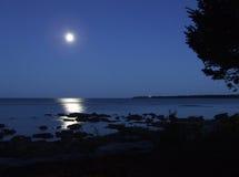 Подъем луны Lake Michigan Стоковое фото RF