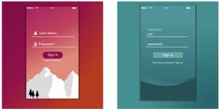 Пользовательский интерфейс, дизайн шаблона применения для мобильного телефона стоковые фотографии rf