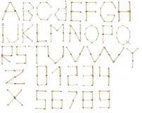 Польностью английский алфавит и номера спички безопасности Стоковое Фото