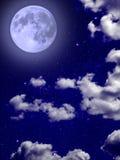 Польностью ночное небо звездных облако голубой луны Стоковое Изображение