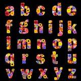 Польностью флористический алфавит изолировал на черных буквах a к z Стоковые Изображения RF