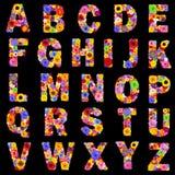 Польностью флористический алфавит изолировал на черных буквах a к z Стоковое Изображение RF