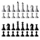 Польностью черно-белый комплект шахмат изолированный на белизне Стоковое Фото