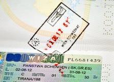 Польская виза schengen в пасспорте Косова Стоковые Фото