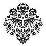 Польская картина черноты народного искусства на бело- Wycinanka, Wzory Lowickie Стоковые Фотографии RF