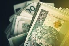 Польская куча банкнот злотого Стоковая Фотография RF