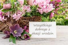 Польская поздравительая открытка ко дню рождения Стоковое Фото