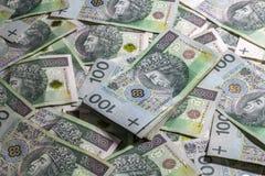 Польская предпосылка денег Стоковая Фотография RF