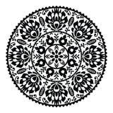 Польская традиционная черная фольклорная картина в круге - Wzory Lowickie Стоковое Фото