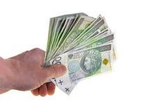 Польские банкноты валюты 100 злотых штабелированных в руке Стоковая Фотография