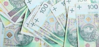 Польские банкноты злотого как предпосылка денег Стоковое фото RF