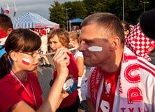 Польские вентиляторы перед спортивным мероприятием Стоковые Фотографии RF