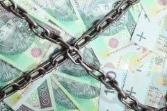 Польские деньги как цепь предпосылки для вклада безопасностью Стоковая Фотография RF