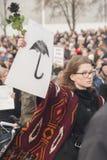 Польские женщины на забастовке во время международного дня ` s женщин, против Стоковая Фотография