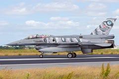 Польский двигатель истребителя F-16 военновоздушной силы Стоковое Изображение RF