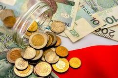 польский злотый Банкноты различных деноминаций и монеток Стоковое фото RF