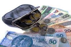 Польский злотый в черном портмоне и монетки на белой предпосылке Стоковые Изображения