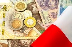 польский злотый Много банкноты и монеток различной деноминации Стоковые Изображения RF