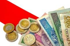 польский злотый Много банкноты и монеток различной деноминации Стоковое Изображение RF