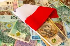 польский злотый Много банкнот, монетки различной деноминации Стоковая Фотография