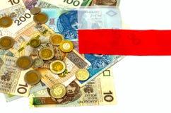 польский злотый Много банкнот, монетки различной деноминации Стоковые Фотографии RF