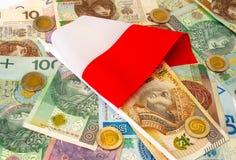 польский злотый Много банкнот, монетки различной деноминации Стоковое Изображение