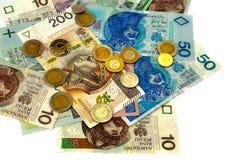польский злотый Много банкнот различной деноминации Стоковая Фотография